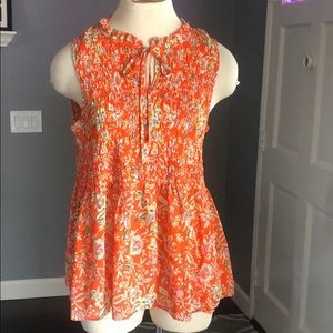 Cynthia Rowley Smocked Floral Top